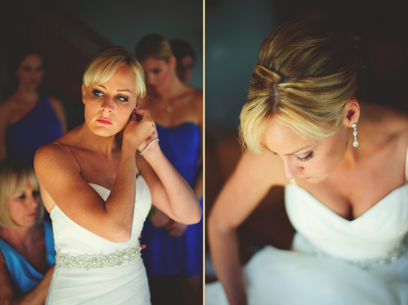 caribbean resort wedding: bride putting on earring