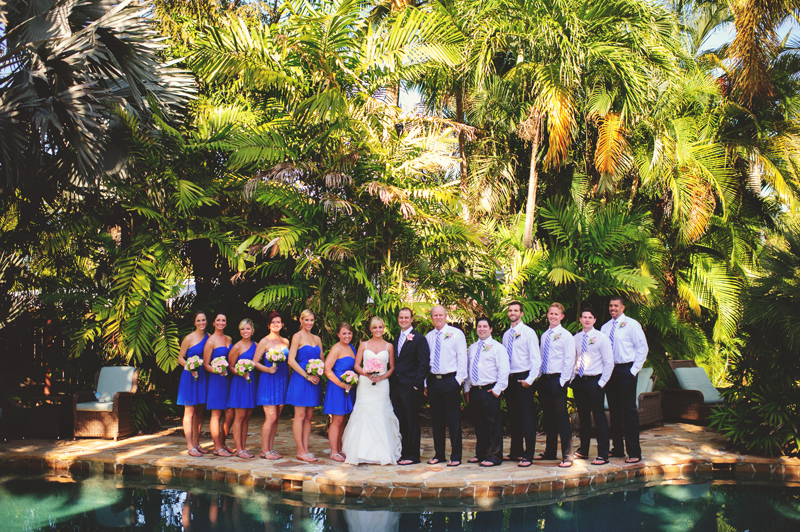 caribbean resort wedding: full wedding party