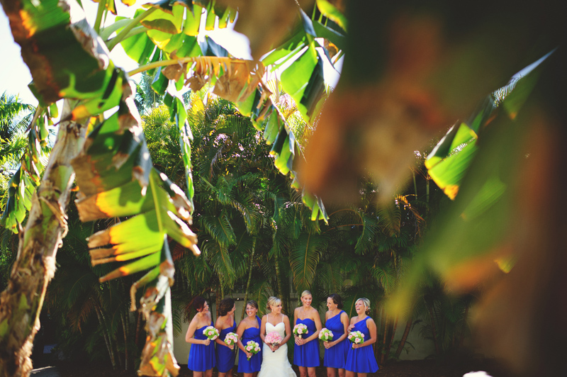 caribbean resort wedding: bride and bridesmaids
