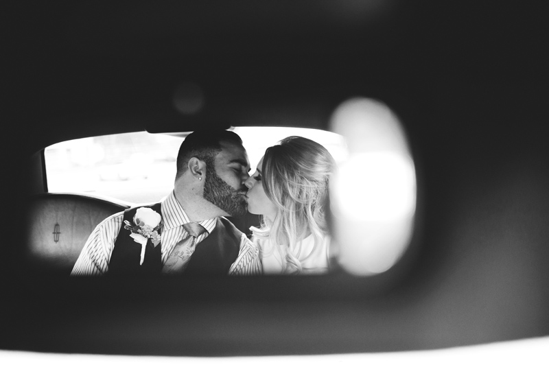 st pete elopement:  bride and groom in limo