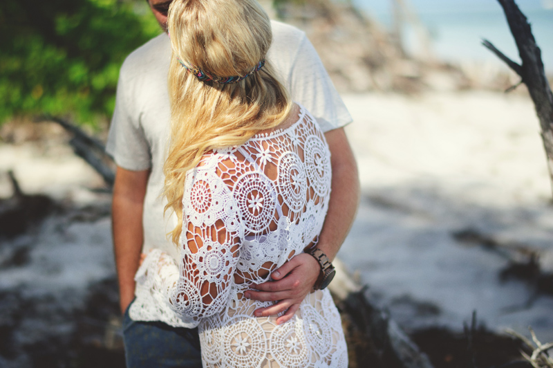 boho beach engagement photos: crochet dress