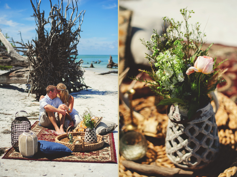 boho beach engagement photos: flowers and pillows