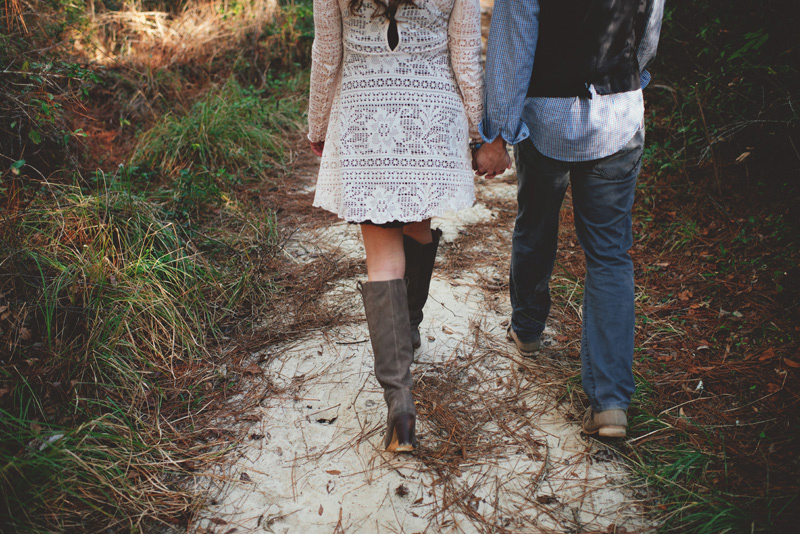 florida hiking engagement photos: walking holding hands