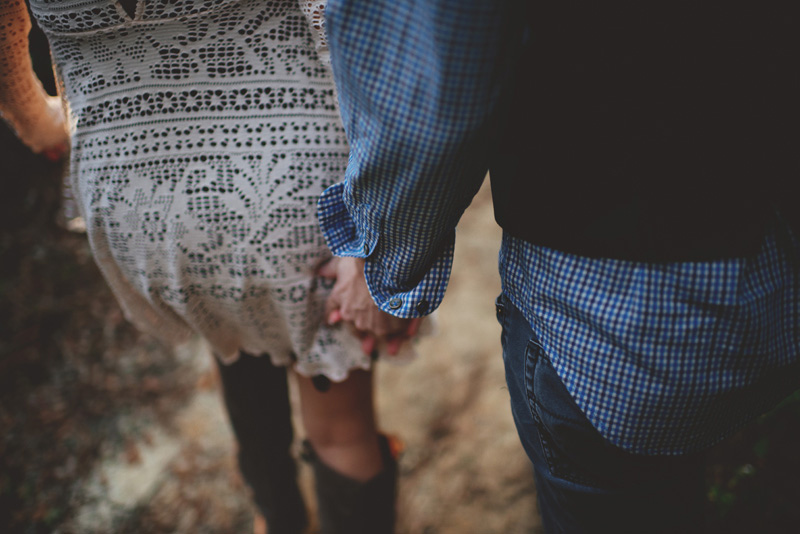 florida hiking engagement photos: holding hands