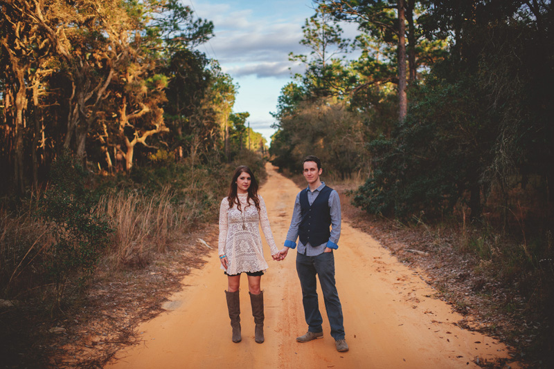 florida hiking engagement photos: old dirt road