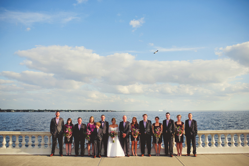 backyard wedding tampa: wedding party on bayshore blvd