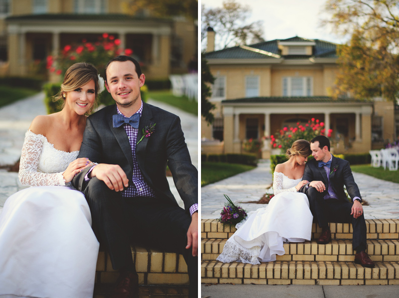 backyard wedding tampa: bride and groom sitting on steps