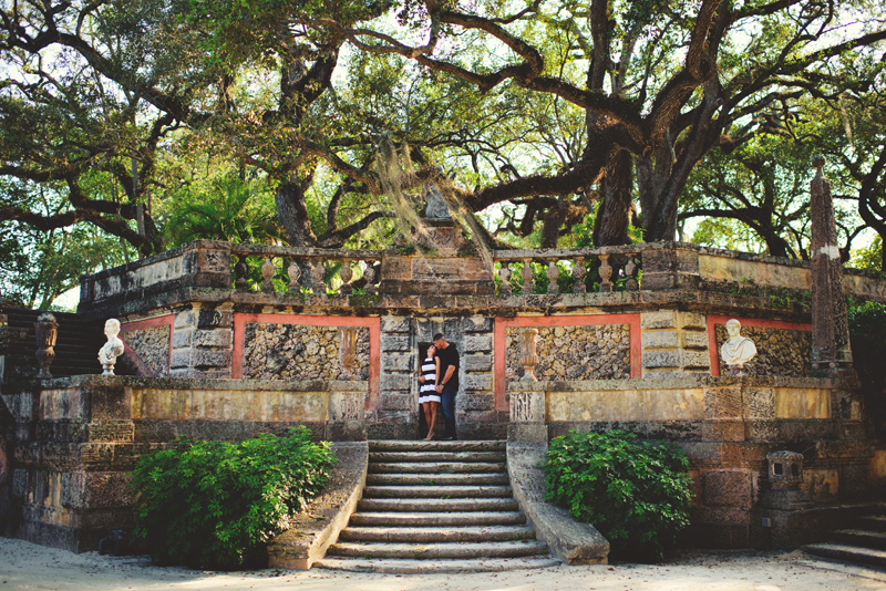 vizcaya museum engagement: photos in the garden