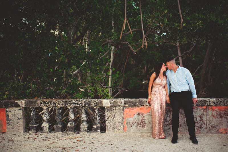 vizcaya museum engagement: leaning against a wall