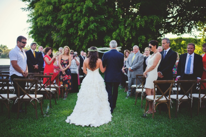 boho backyard wedding naples: father walking bride down the aisle
