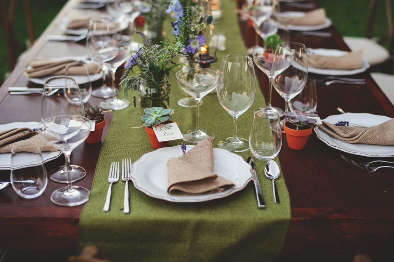 boho backyard wedding naples: table setting