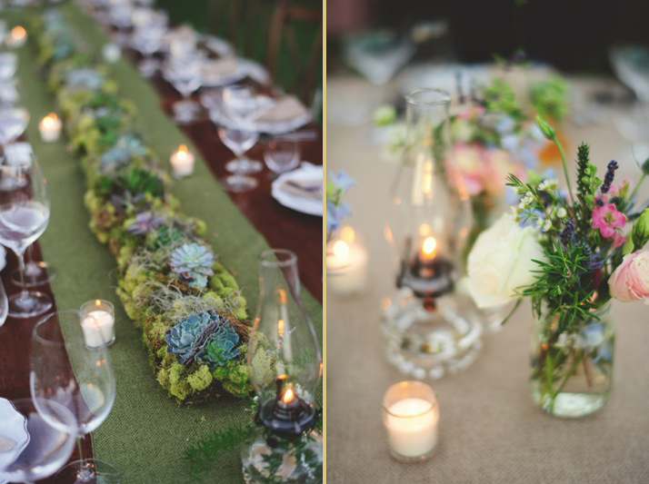 boho backyard wedding naples: succulents and wild flowers