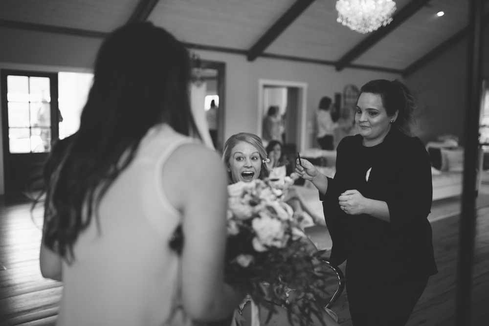 brides reaction to seeing flowers