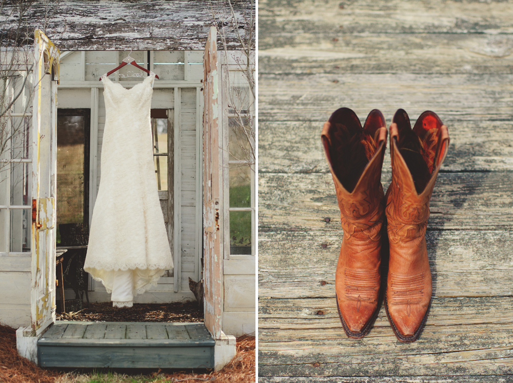 Modern Trousseau wedding dress and lucchese boot