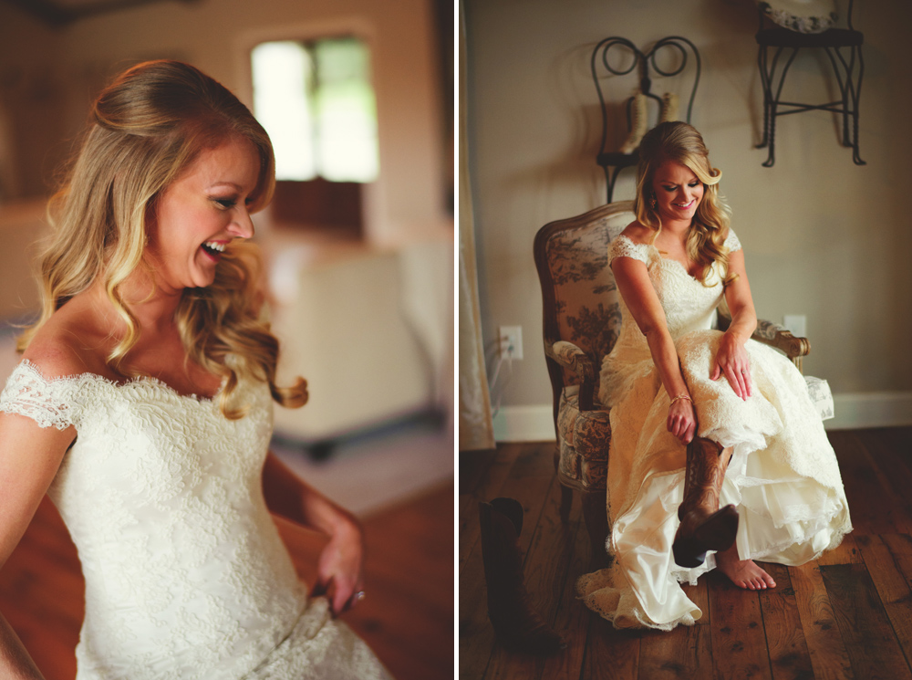 mint springs farm wedding: bride putting on boots