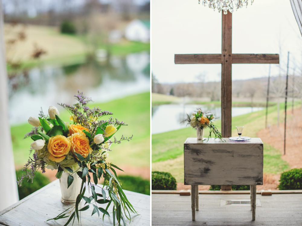mint springs farm wedding: ceremony cross and flowers