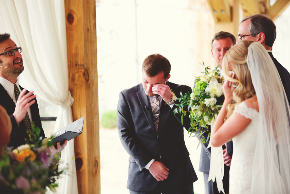 mint springs farm wedding: groom crying