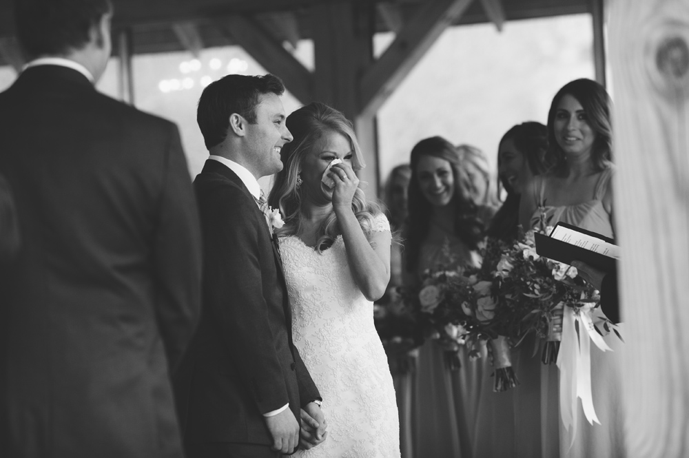 mint springs farm wedding: bride crying ceremony