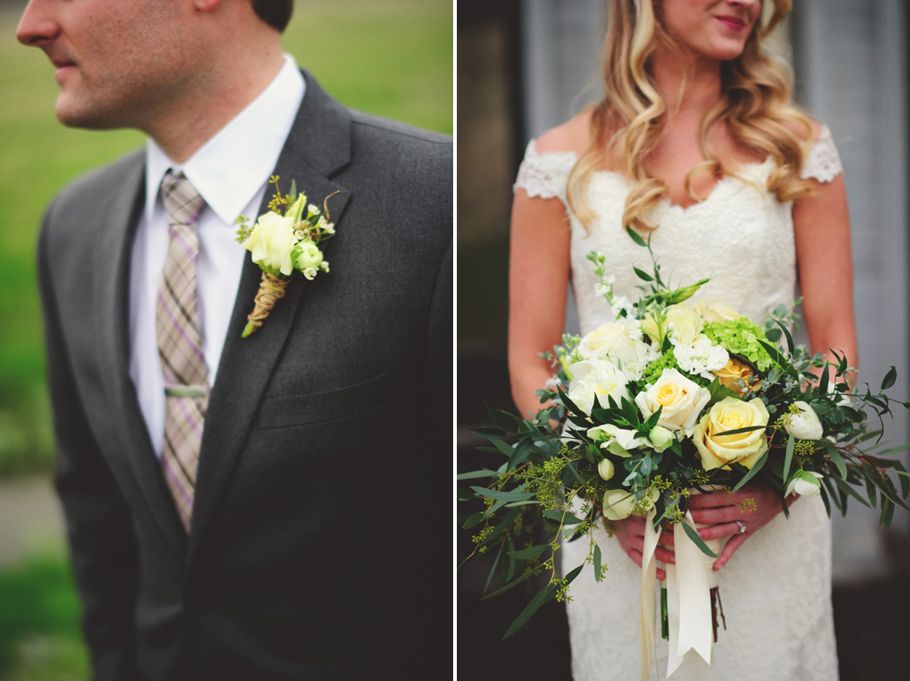 mint springs farm wedding: bouquet and boutonniere