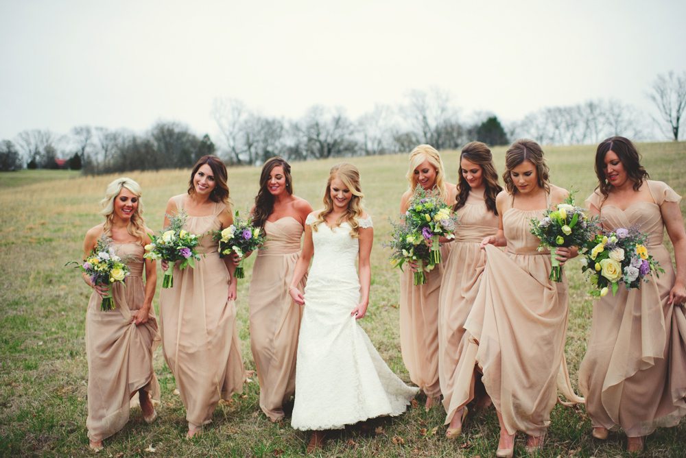 mint springs farm wedding: bridesmaids walking