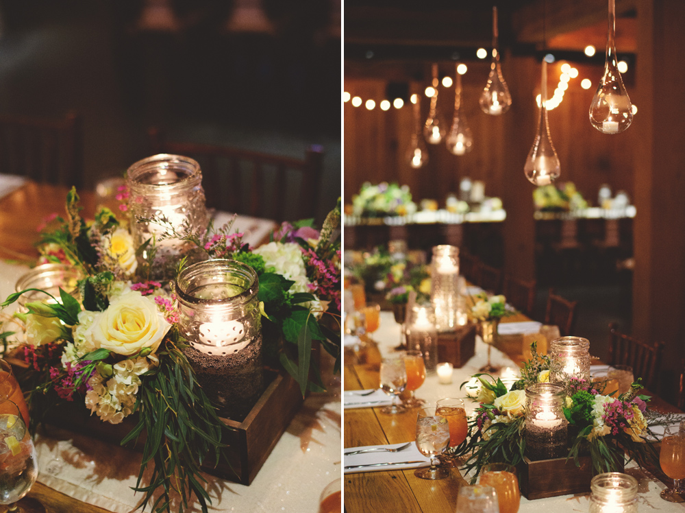 mint springs farm wedding: reception centerpieces