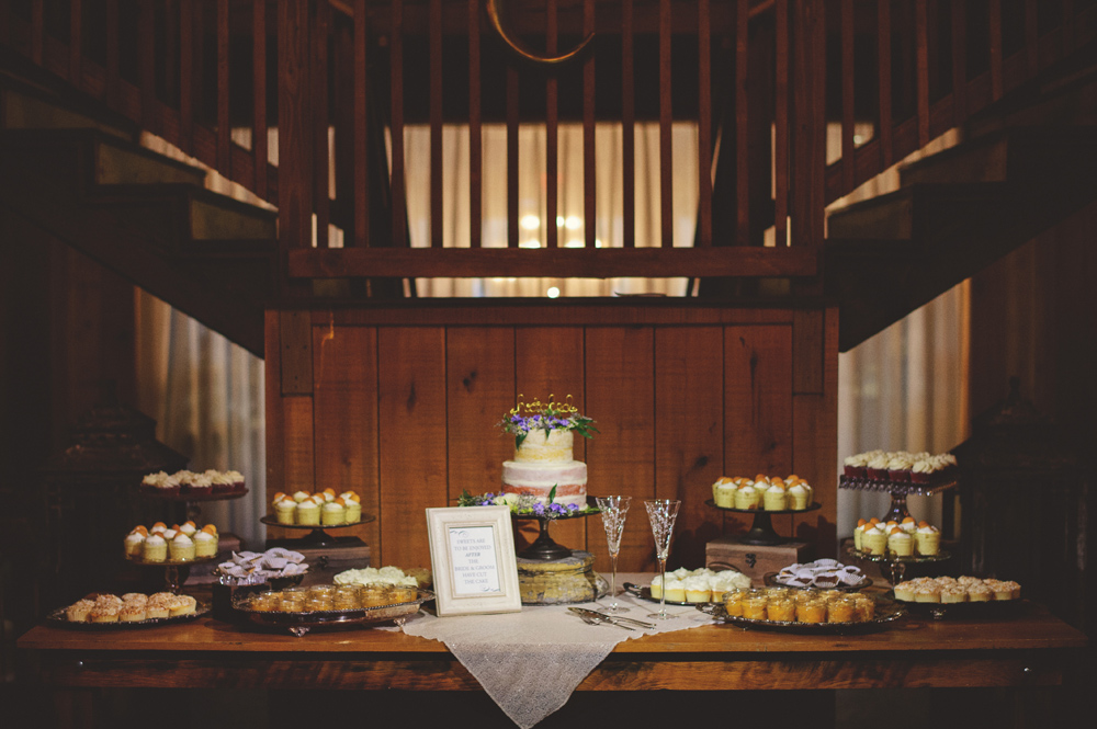 mint springs farm wedding: cake and dessert station