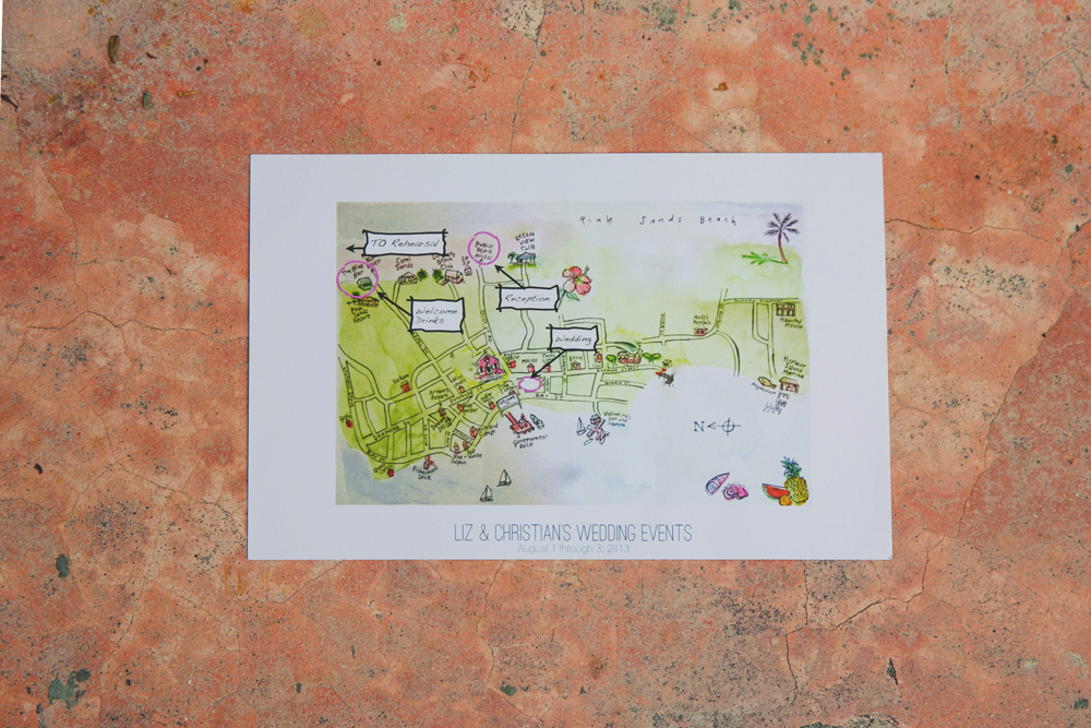 harbour island wedding: hand drawn map