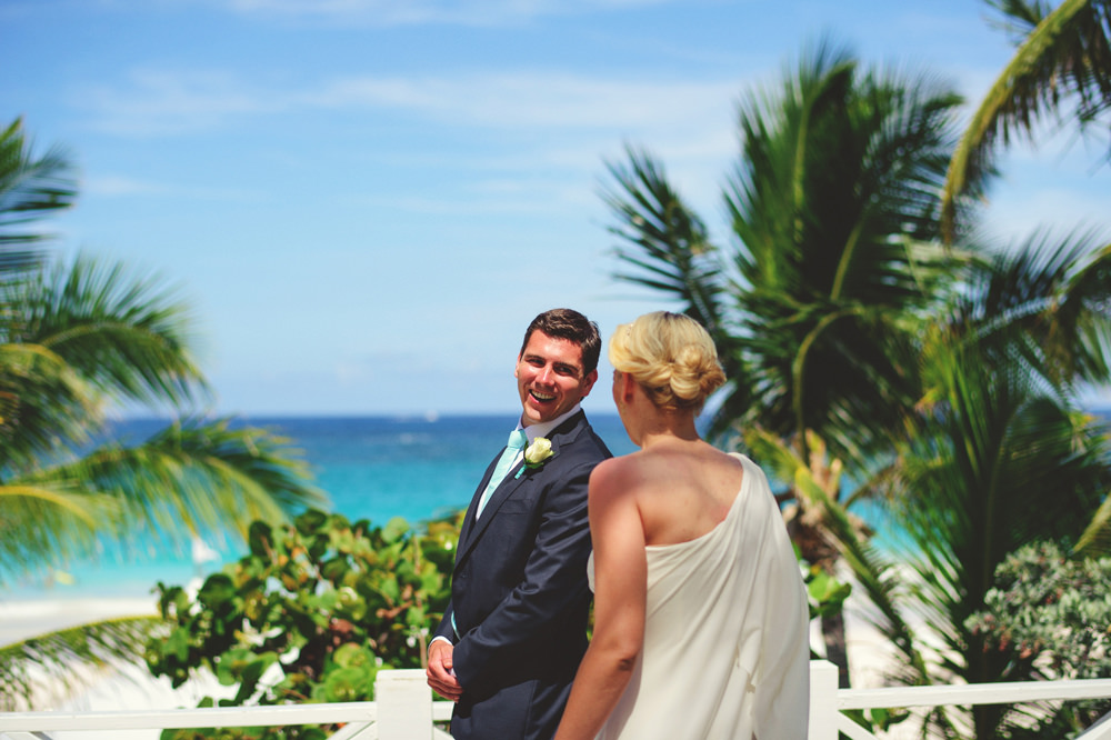 ocean view club wedding : grooms reaction seeing bride for first time