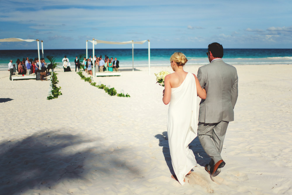 ocean view club wedding : bride walking down aisle