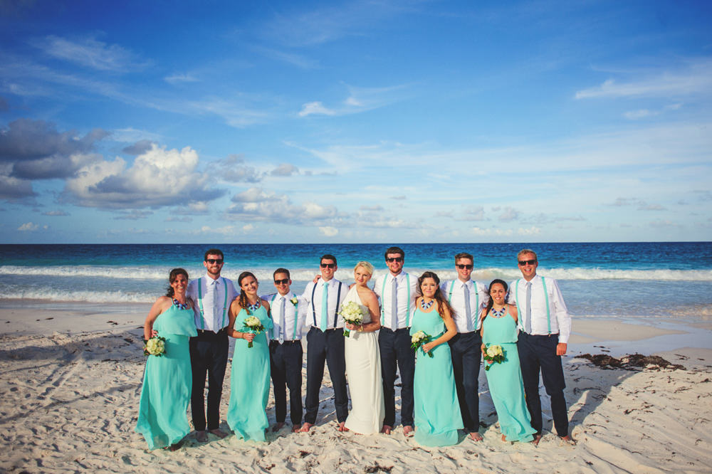 ocean view club wedding : bridal party on beach