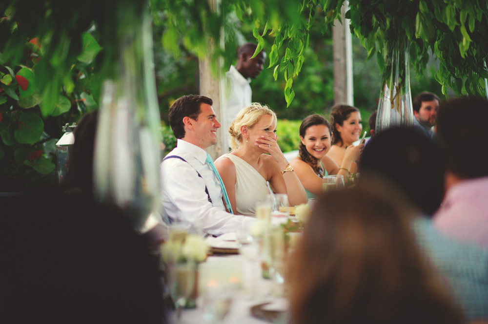 ocean view club wedding : bride laughing at speech