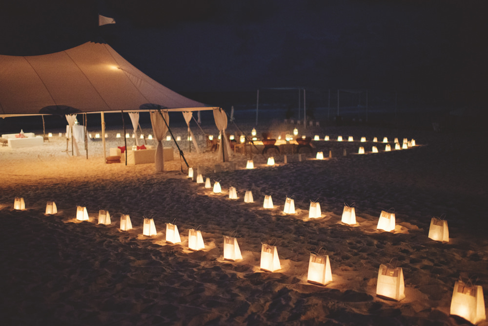 ocean view club wedding : beach at night