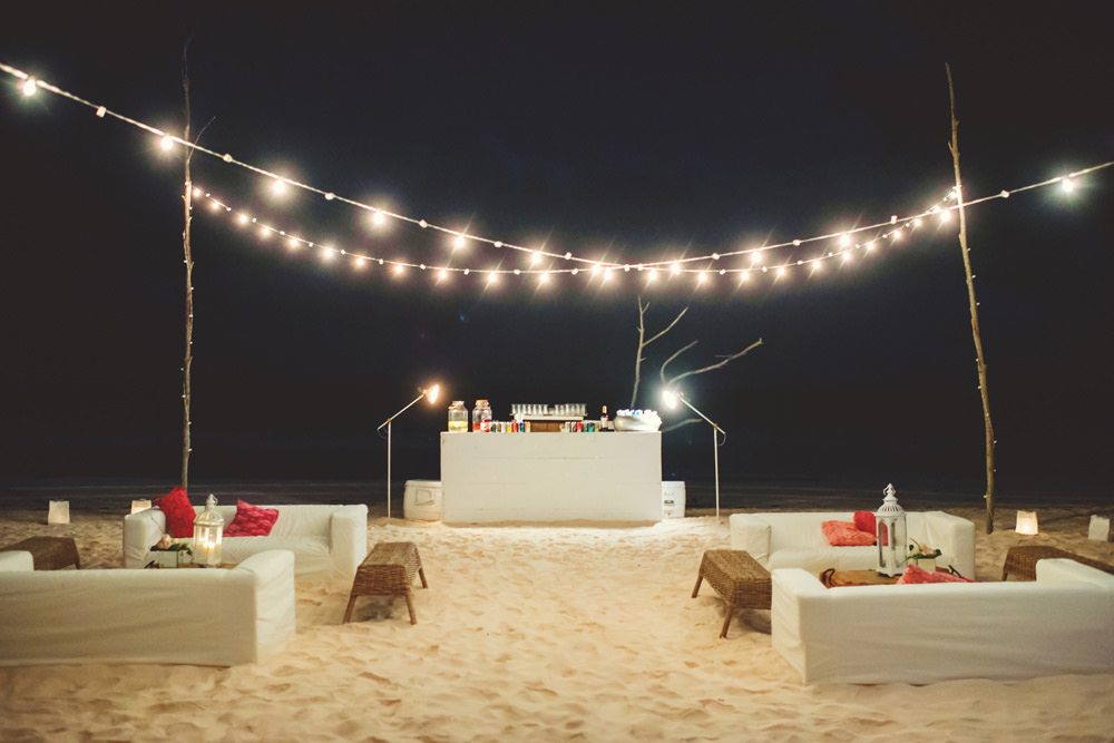 ocean view club wedding : beach decor at night
