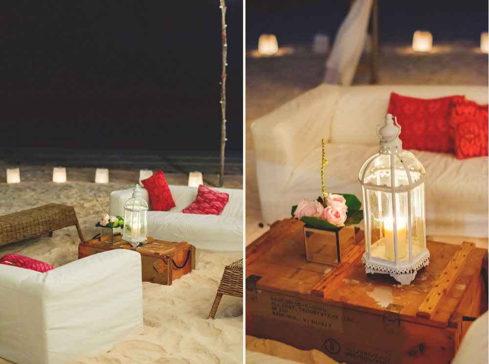 ocean view club wedding : seating and lanterns at night