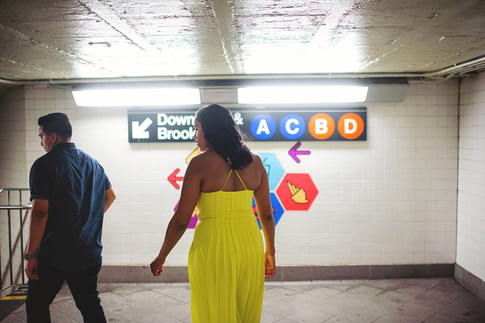 nyc subway engagement photos