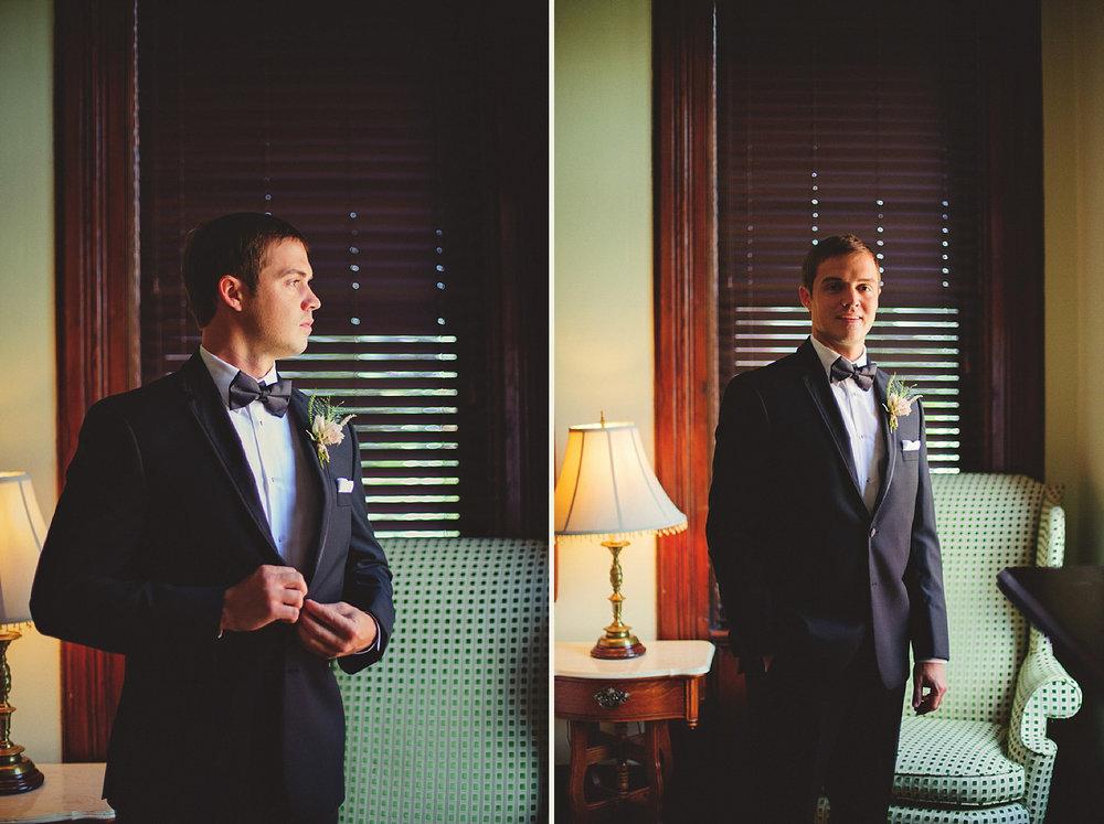 Harper Fowlkes House wedding: groom window portraits