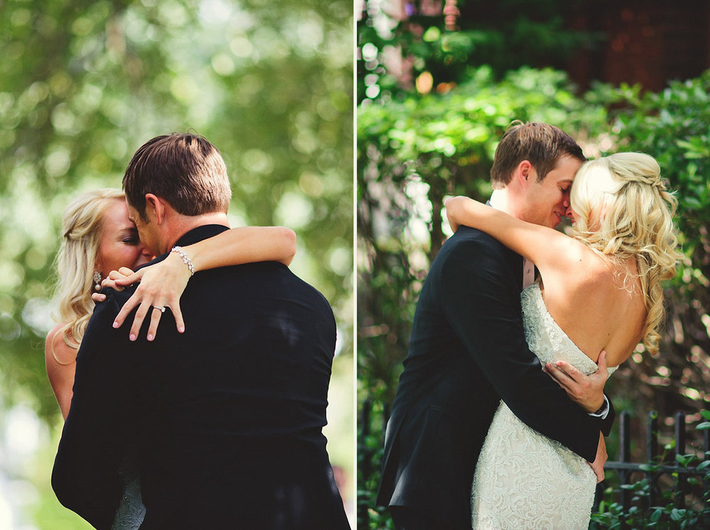Harper Fowlkes House wedding: bride and groom hugging