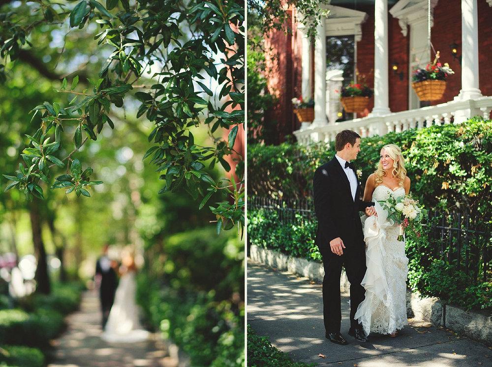 bride and groom walking down the side walk in savannah