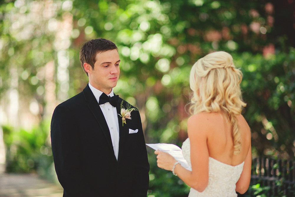Harper Fowlkes House wedding: bride reading letter to groom