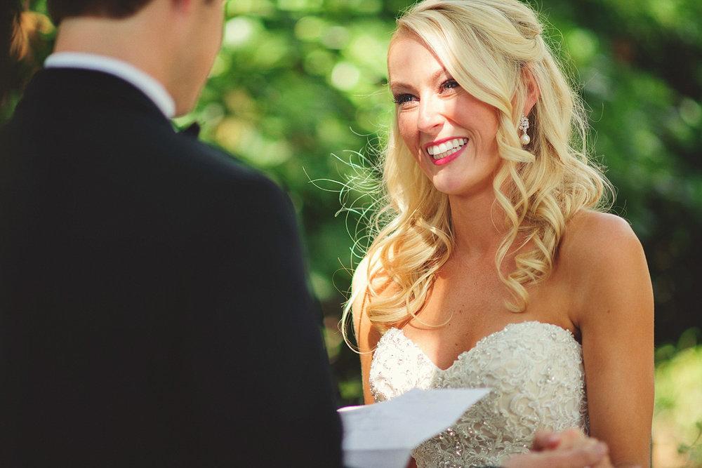 Harper Fowlkes House wedding: bride smiling