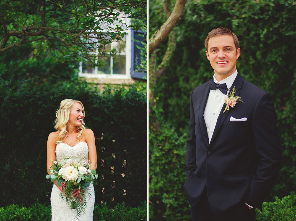 Harper Fowlkes House wedding: bride and groom portriats