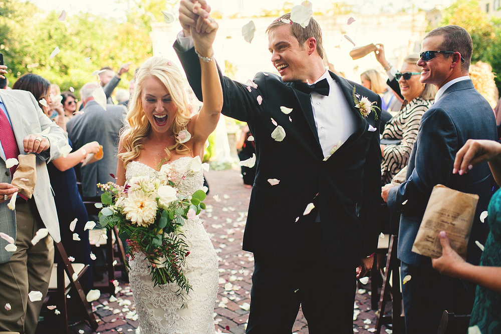 Harper Fowlkes House Wedding: happy bride and groom recessional