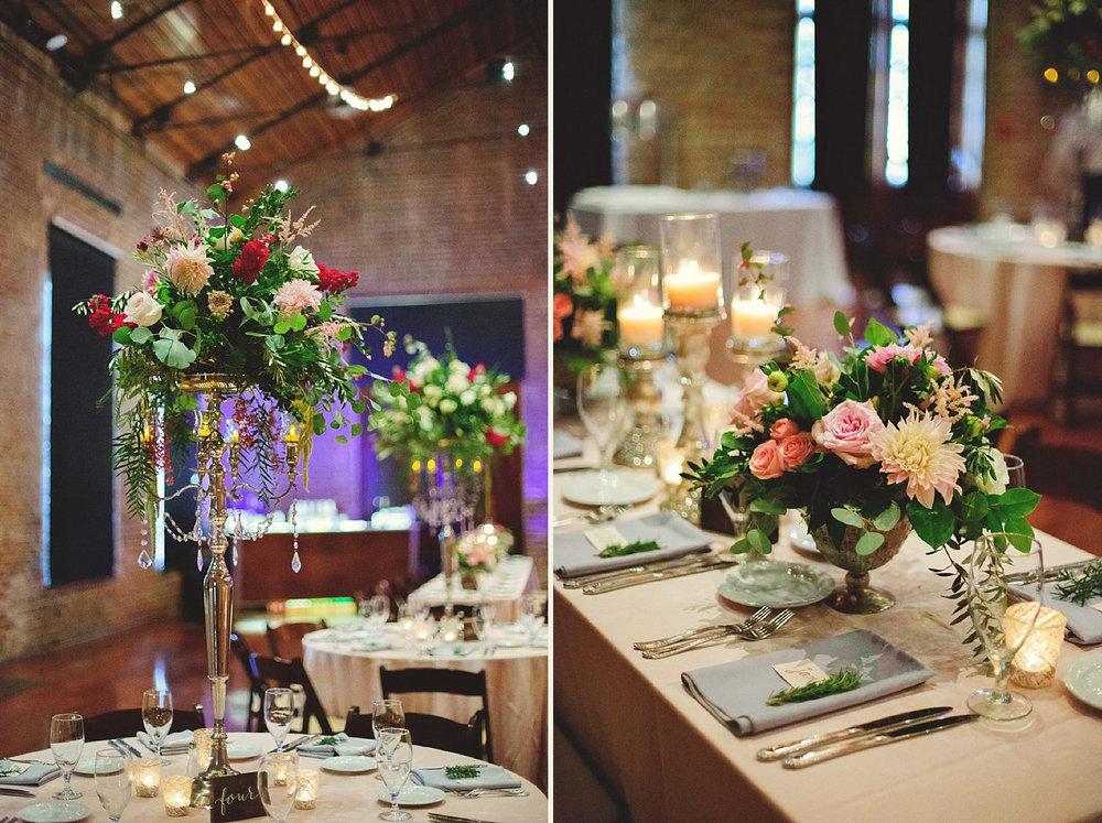 Chalres Morris Center Wedding: reception decor