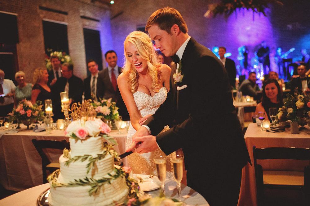 Chalres Morris Center Wedding: cake cutting