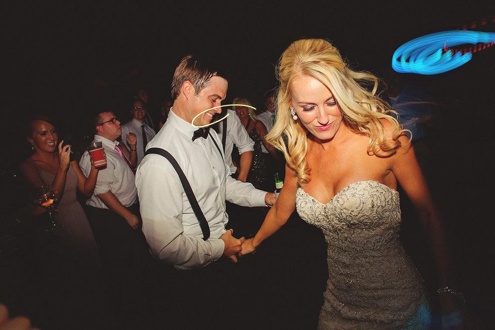 Chalres Morris Center Wedding: bride and groom dancing