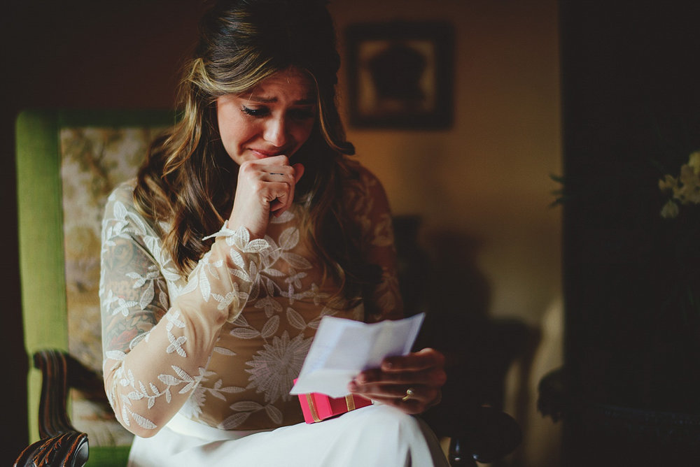 casa feliz wedding photos: bride crying