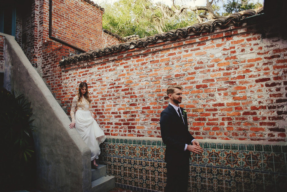 casa feliz wedding photos: bride walking down stairs