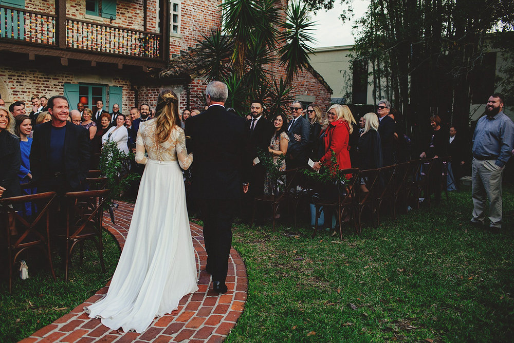 casa feliz wedding photos: bride and dad walking down aisle