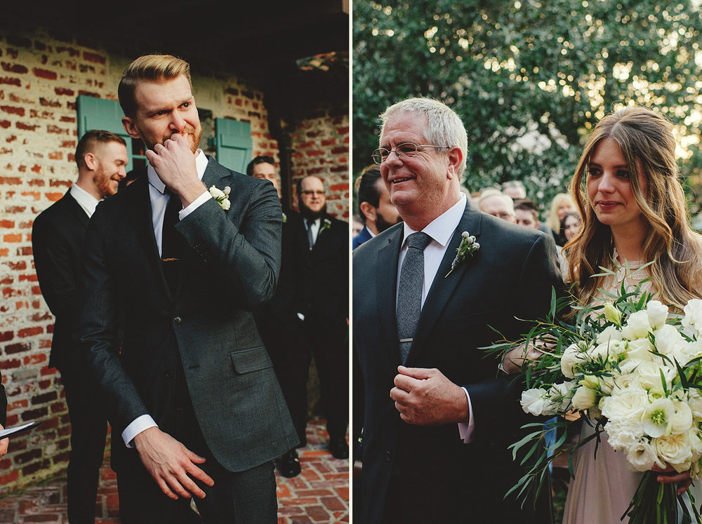 casa feliz wedding photos: grooms reaction to bride coming down