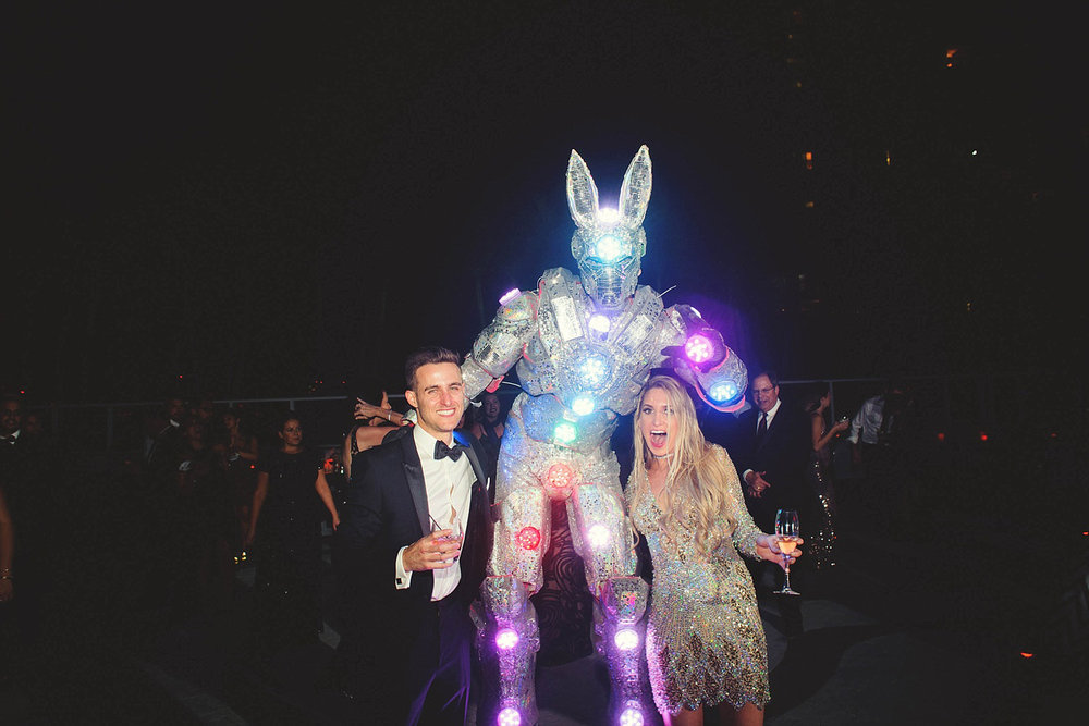 romantic-w-fort-lauderdale-wedding: bride and groom with robot r